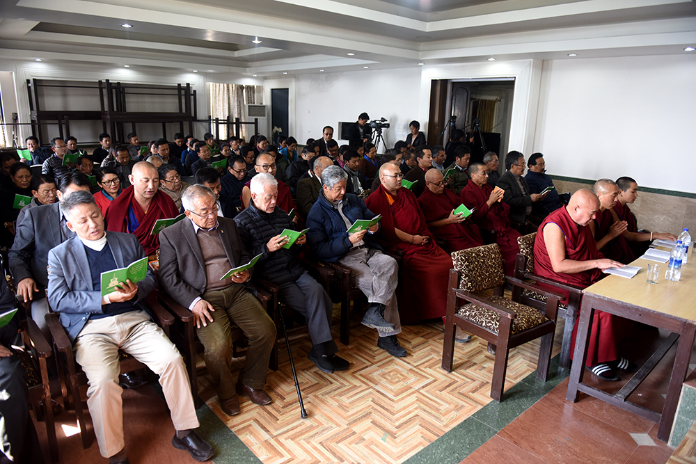 Kalons and officials of the Central Tibetan Administration at the prayer service for late Mr Ngawang Dorjee Narkyid, former Secretary 16February 2017.