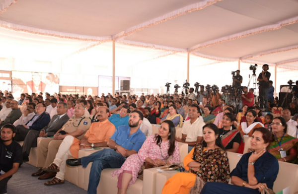 Members of audience listening to His Holiness the Dalai Lama's talk on 'Ethics, Values and Wellbeing' at the Foundation Stone Laying Ceremony of New Dalai Lama's Center of Ethics and Transformative Values in Hyderabad on 12 February 2017.