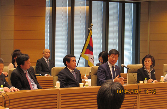 Sikyong Dr Lobsang Sangay addressing the members of the Japanese Parliament at the National Diet building in Tokyo.