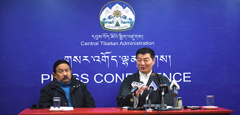 Sikyong Dr lobsang Sangay and Kashag Secretary Mr TopgyalTsering at the press conference, 2 February 2017.