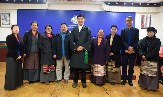 Sikyong Dr Lobsang Sangay, kashag Secretary mr Topgyal Tsering with members of the drafting committee of the Kashag's revised women empowerment policy.