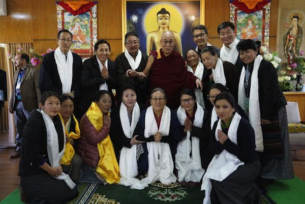 His Holiness the Dalai Lama with Sikyong Dr Lobsang Sangay, Kalon Sonam Topgyal Khorlatsang of Department of Home and members of the organising committee of the first ever Tibetan Women's Empowerment Conference at His Holiness' residence on 23 February 2017. Photo/Tenzin Choejor/OHHDL