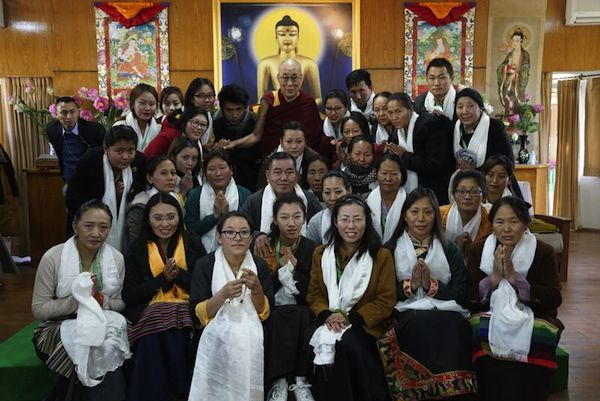 His Holiness the Dalai Lama with group of participants of the first ever Tibetan Women's Empowerment Conference on 23 February 2017. Photo/Tenzin Choejor/OHHDL