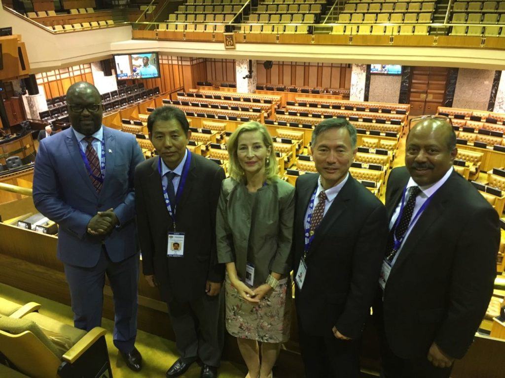 with other guests in the Parliament