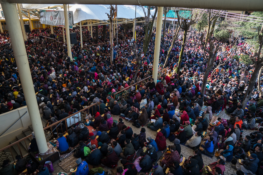 View of the courtyard of the Main Tibetan Temple where thousands gathered to listen to His Holiness the Dalai Lama's Jataka Tale teaching in Dharamsala, HP, India, on March 12, 2017. Photo by Tenzin Choejor/OHHDL