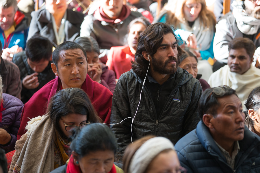 Some of the audience listening to His Holiness the Dalai Lama's explanation of one of the Jataka Tales at the Main Tibetan Temple in Dharamsala, HP, India, on March 12, 2017. Photo by Tenzin Choejor/OHHDL