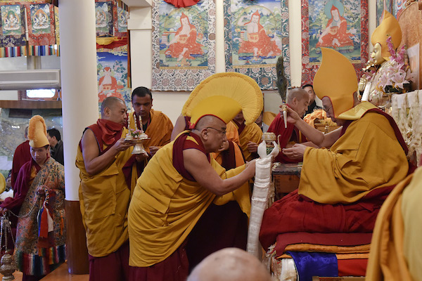 The abbot of Namgyal Monasery Thamtog Rinpoche presenting traditional offering during the Long Life Offering ceremony for His Holiness the Dalai Lama at his residence in Dharamsala, HP, India on March 15, 2017. Photo/Tenzin Damchoe/OHHDL