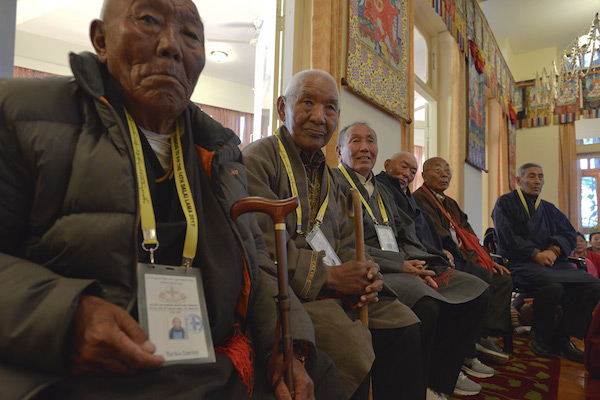 Senior former members of His Holiness the Dalai Lama's security team at the Long Life Offering ceremony for His Holiness at his residence in Dharamsala, HP, India on March 15, 2017. Photo/Lobsang Tsering/OHHDL