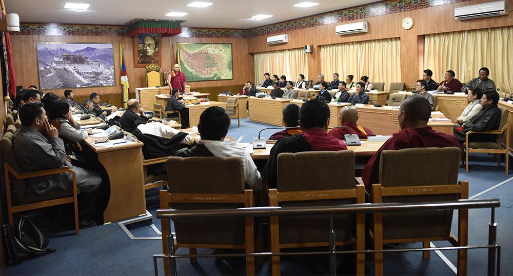 Speaker Khenpo Sonam Tenphel delivering his concluding remarks, 25 March 2017.