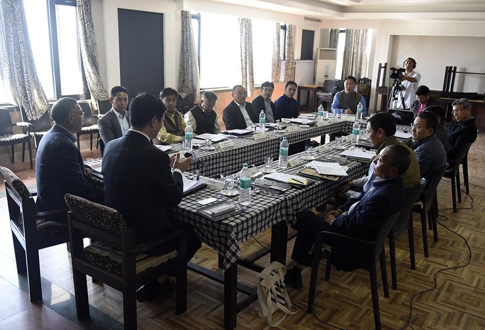 Sikyong Dr Lobsang Sangay speaking at two-day 'School Systems' Heads Meeting at Nyatri hall, gangkyi.