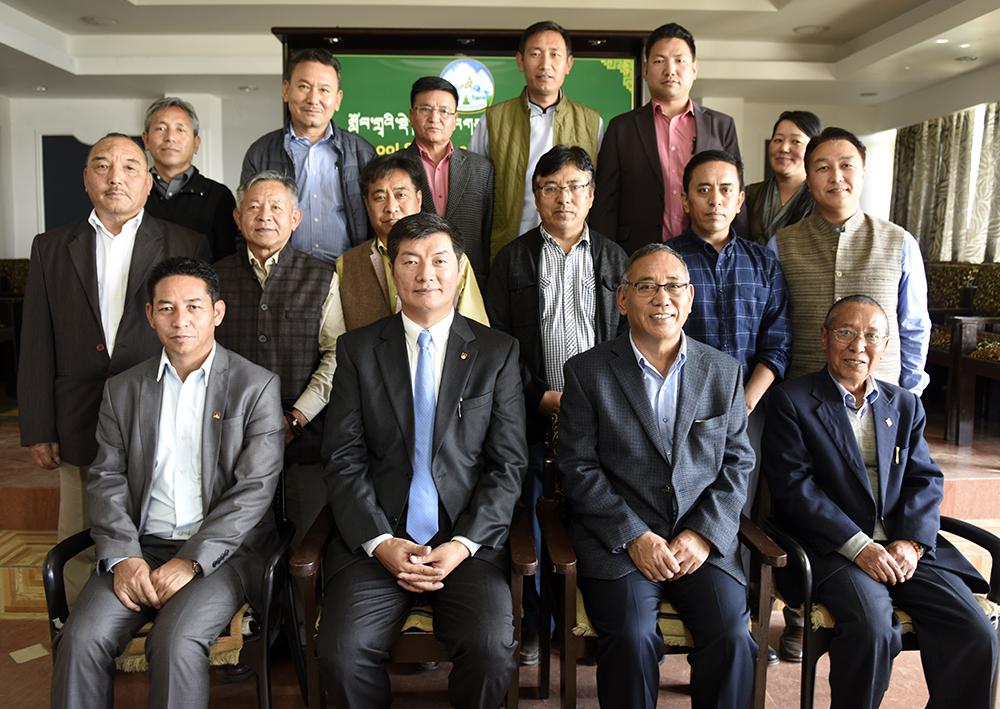 Sikyong Dr Lobsang Sangay and Education Kalon Ngodup Tsering along with Secretary and various heads of Tibetan school.