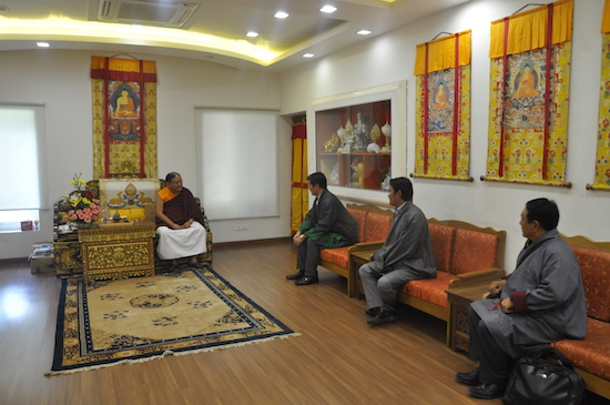 Sikyong Dr Lobsang Sangay accompanied by Health Kalon Choekyong Wangchuk and settlement officer of Dickyling having an audience with Sakya Gongma Rinpoche, 31 March 2017.