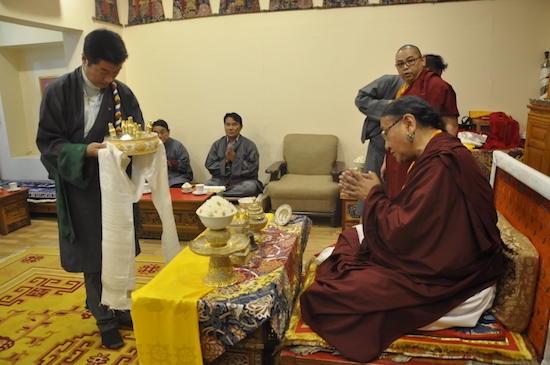 SIkyong Dr Lobsang Sangay offering the three representations of the enlightened body, speech and mind to Sakya Gongma Rinpoche at Dolma Phodrang, 31 March 2017.