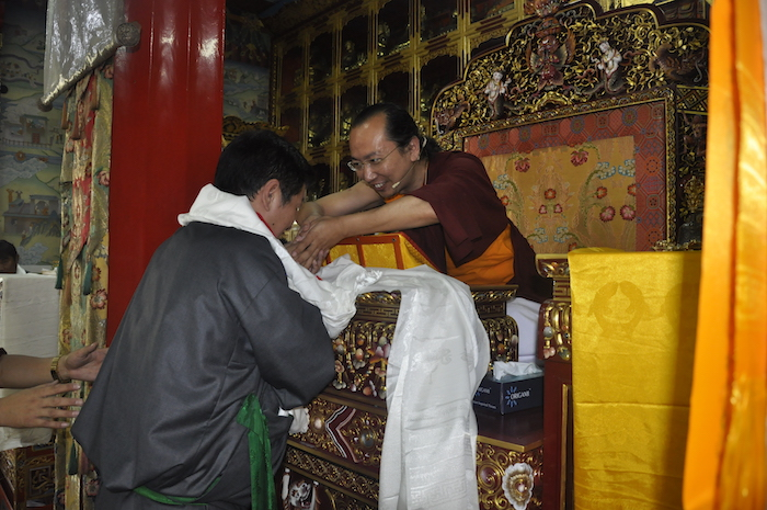 Sikyong offering Kashag's greetings to the new Sakya Trizin, 31 March 2017.