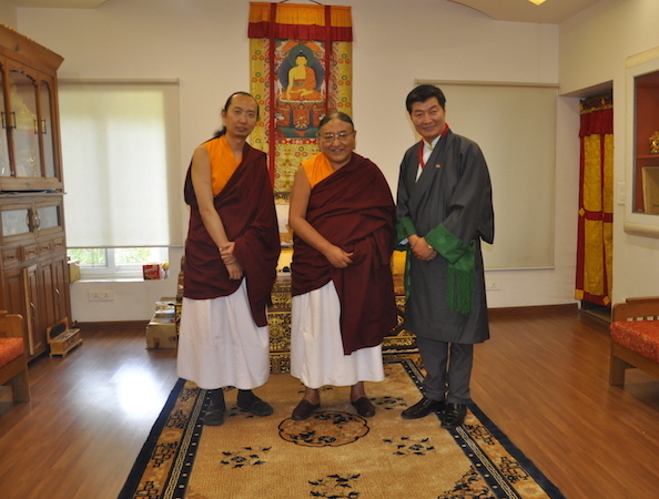 New Sakya Trizin Vajra Ratna Rinpoche, Sakya Gongma Rinpoche and Sikyong Dr Lobsang Sangay following Kashag's long life prayer offering, 31 March 2017.