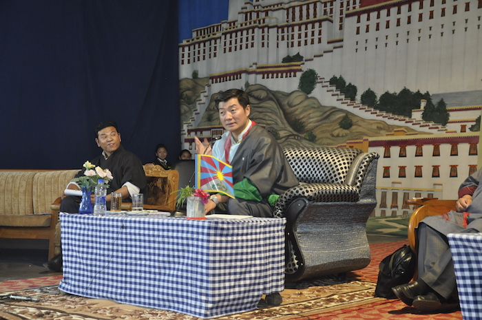 Sikyong addressing students and staff of Tibetan Homes Foundation school in Rajpur, 31 March 2017.