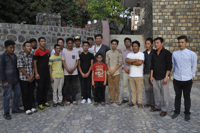 Sikyong with the recovering individuals at the de-addiction center, 31 March 2017.