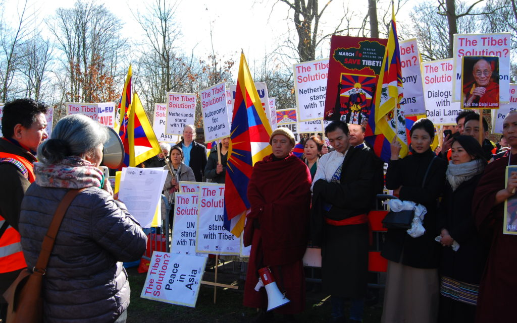 Nyima Lhamo at the demonstration