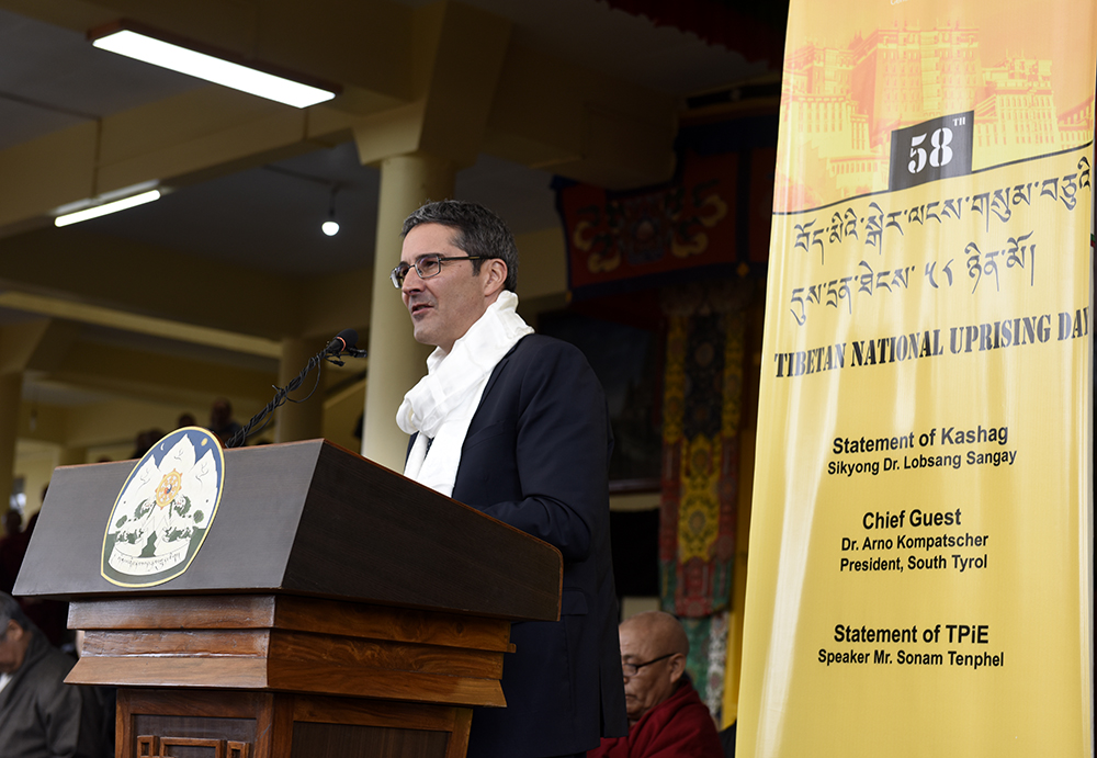 Dr Arno Kompatscher, President of South Tyroll, addressing the Tibetan National Uprising day at Tsuglagkhang Dharamshala, 10 March 2017.