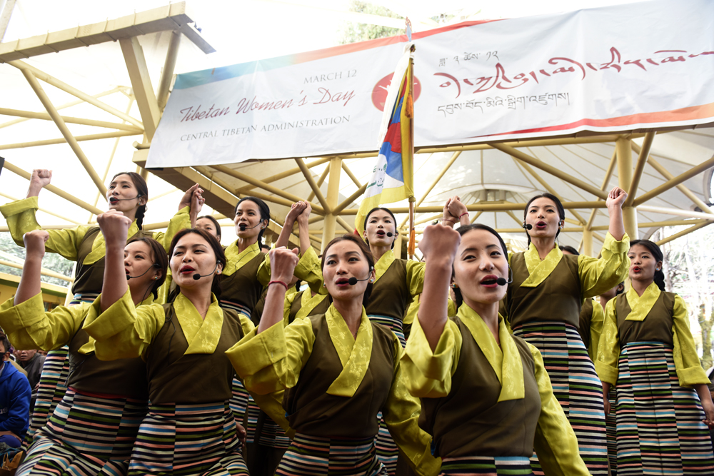 Artists from Tibetan Institute of Performing Arts singing a song on tibetan women, 12 March 2017.