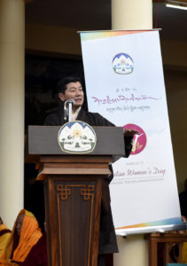 Sikyong Dr Lobsang Sangay speaking to the public on the 1st Tibetan Women's day event on 12 March 2017.