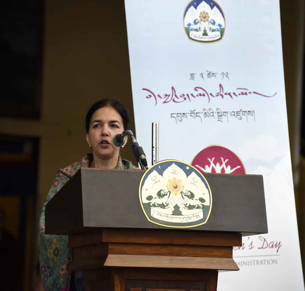 Senator Lisa SIngh from Australia addressing the first Tibetan women's day event, 12 March 2017.