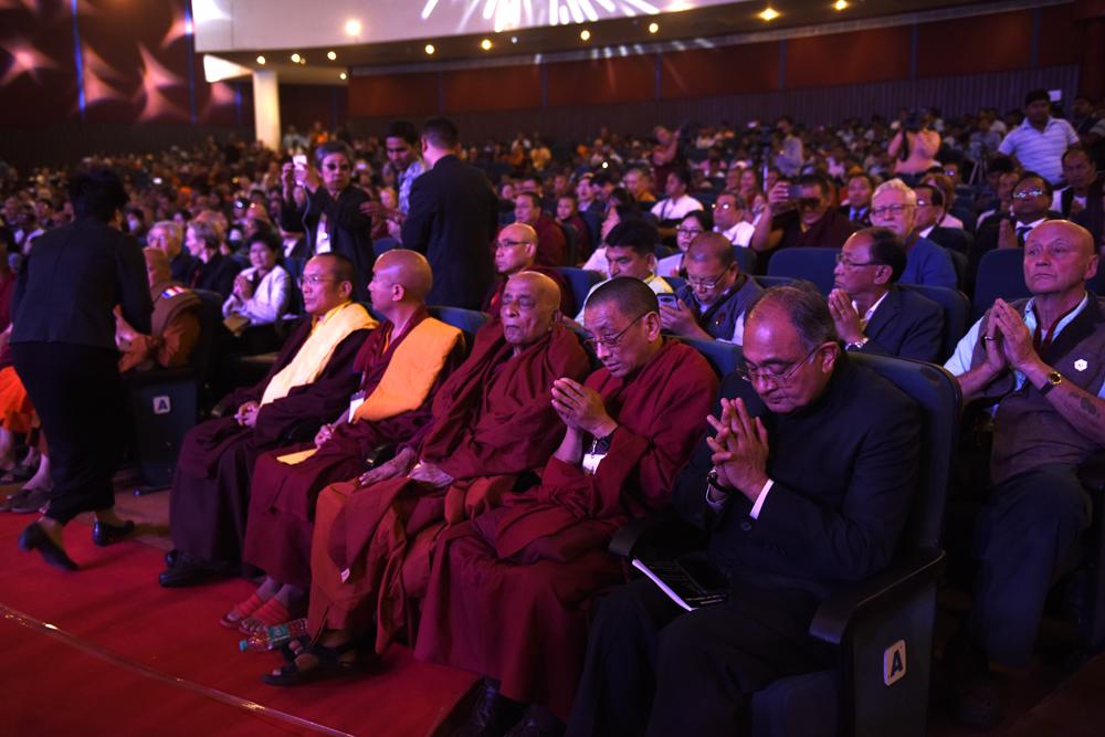 Ven Karma Gelek Yuthok and Buddhist leaders attending the inaugural session of the three-day International Buddhist Conference at the Rajgir International Convention Centre in Rajgir, Bihar, India on 17 March 2017. Photo/Tenzin Phende/DIIR