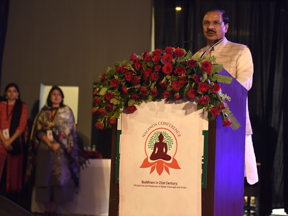Union Minister of State for Culture & Tourism Dr Mahesh Sharma addressing delegates at the Rajgir International Convention Centre in Rajgir, Bihar, India on 17 March 2017. Photo/ Tenzin Phende/DIIR
