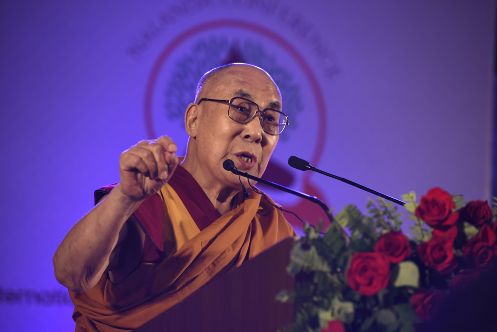 His Holiness the Dalai Lama delivering the keynote address at the inaugural session of the three-day International Buddhist Conference at the Rajgir International Convention Centre in Rajgir, Bihar, India on 17 March 2017.