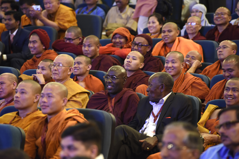 Members of audience listening to His Holiness the Dalai Lama speech during inaugural session of three-day International Buddhist Conference at the Rajgir International Convention Centre in Rajgir, Bihar, India on 17 March, 2017. Photo/Tenzin Phende/DIIR