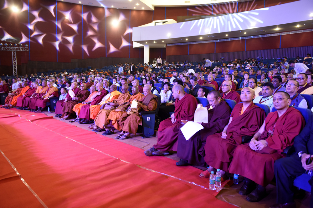 His Holiness the Dalai Lama and senior members of Sangha during the afternoon plenary session of the three-day International Buddhist Conference at the Rajgir International Convention Centre in Rajgir, Bihar, India on 17 March 2017. Photo/Tenzin Phende/DIIR