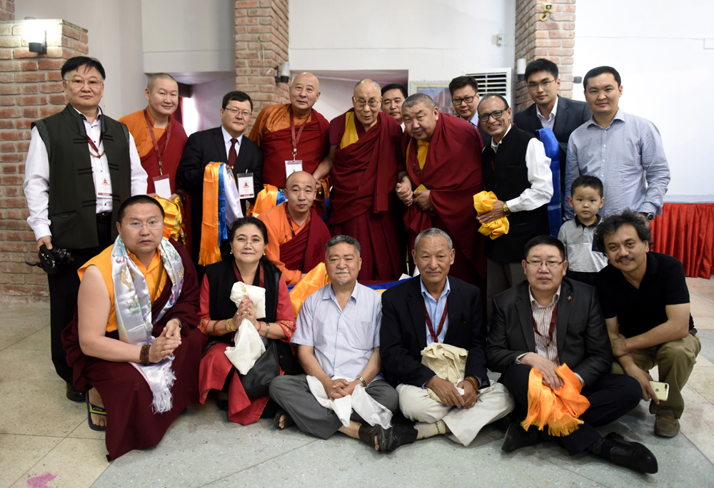His Holiness the Dalai Lama meets members from the Asian Buddhist Conference for Peace at IndoHocke Hotel in Rajgir, Bihar, India on 18 March, 2017. Photo/Tenzin Phende/DIIR