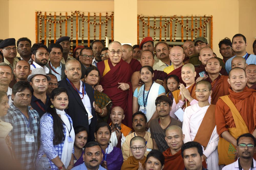 A group photo of His Holiness the Dalai Lama with staff and students of Nav Nalanda Mahavihara, 18 March 2017. Photo/Tenzin Phende/DIIR