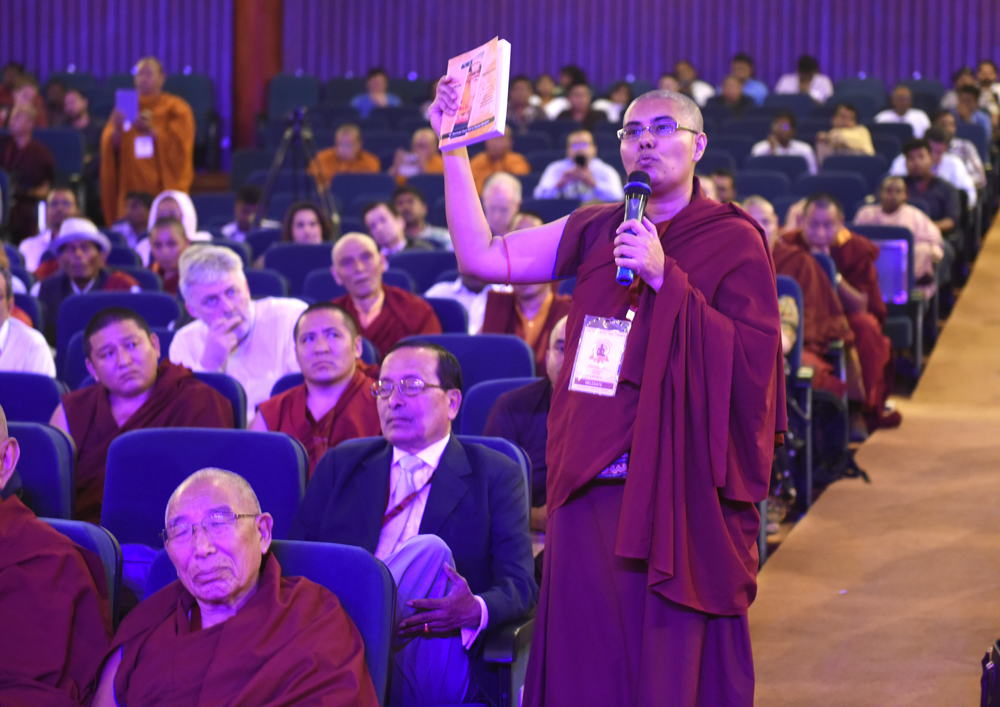 A delegate asking a question during an interactive session on the second day of the three-day International Conference on Buddhism at the Rajgir International Convention Centre in Rajgir, Bihar, India on 18 March 2017. Photo/Tenzin Phende/DIIR