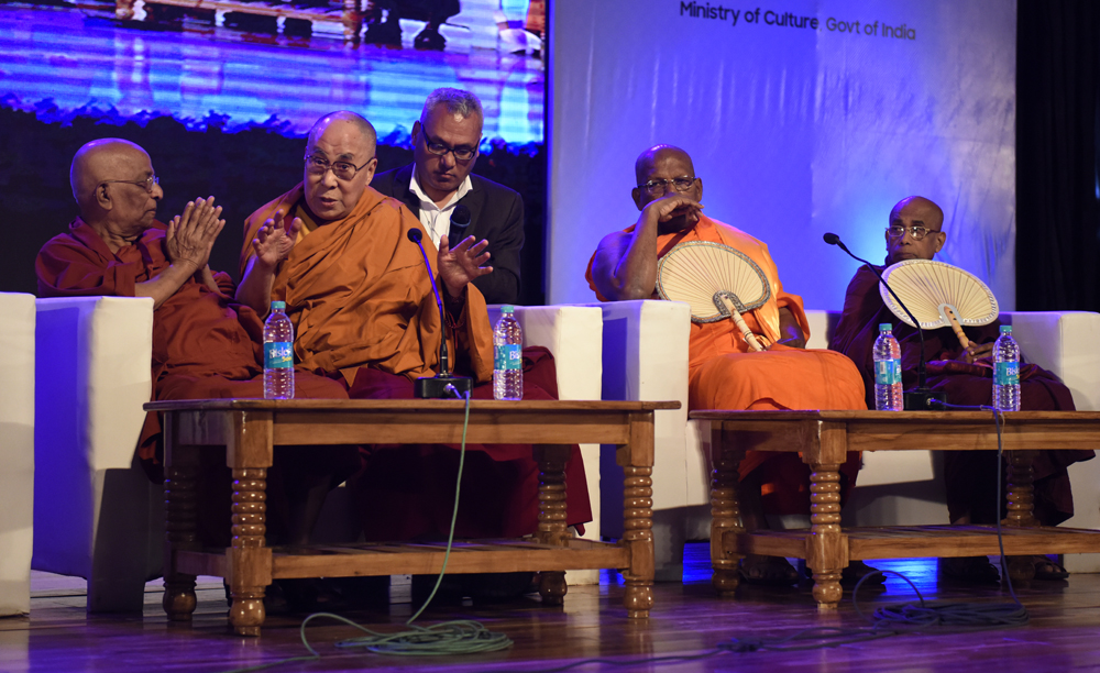 His Holiness the Dalai Lama speaking at the brief discussion with Sangh rajas and mahanayakas of various buddhist traditions at Rajgir, 18 March 2017.
