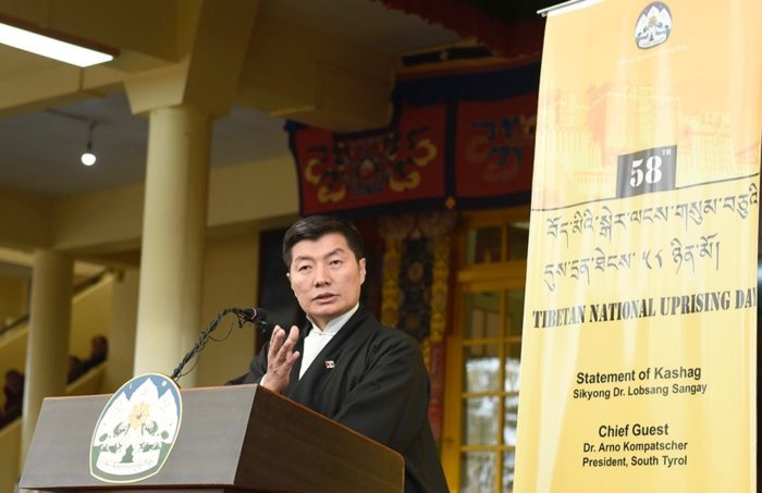 Sikyong Dr. Lobsang Sangay delivering March 10 statement