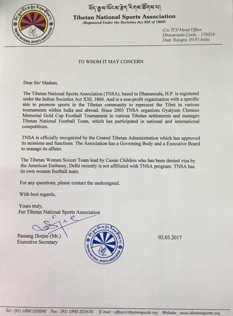 TNSA letter of clarification