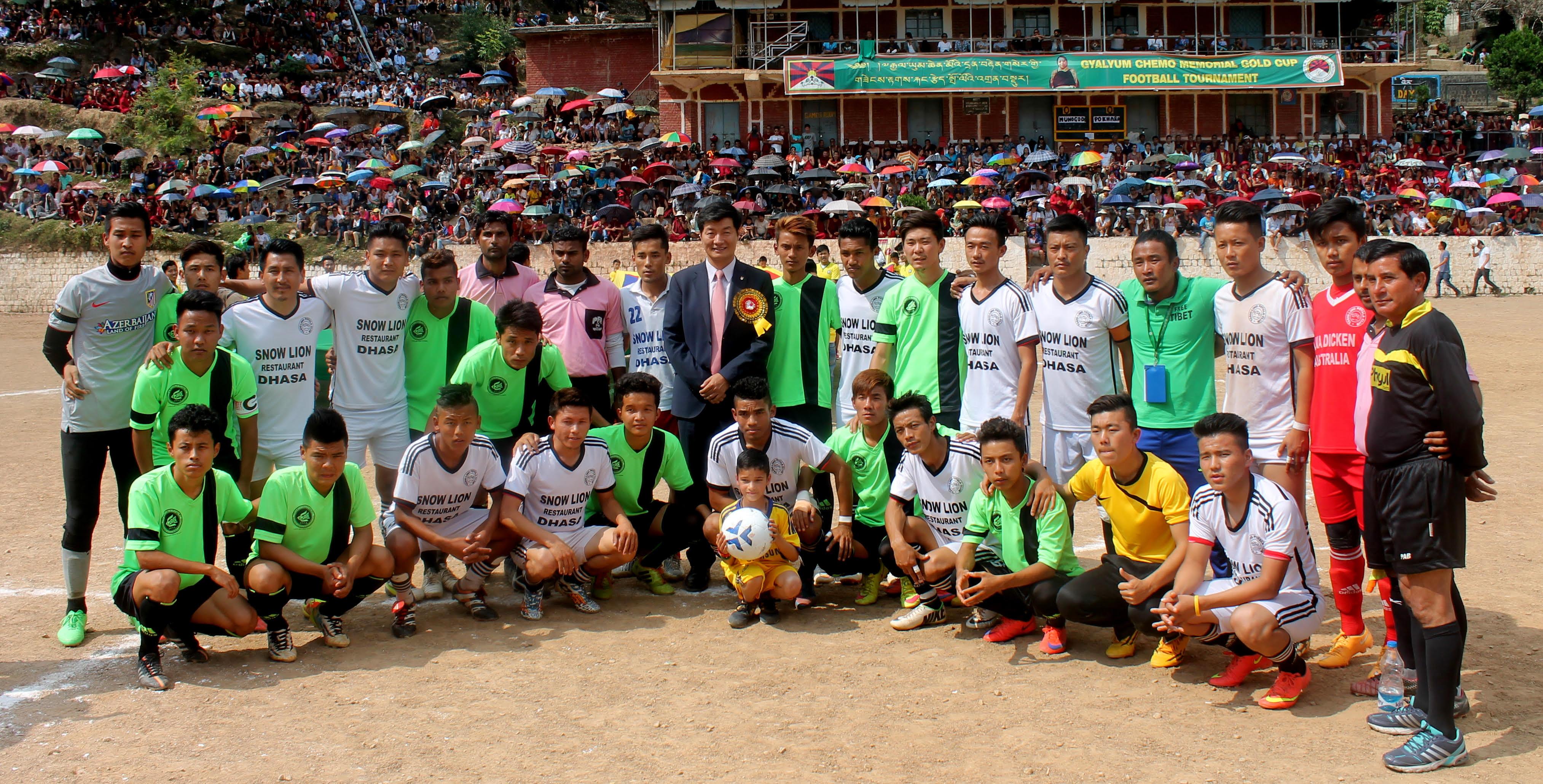 Sikyong Dr. Lobsang Sangay at the Gyalyum Chenmo Memorial Gold Cup organised annually by TNSA