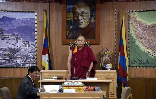 The Speaker of the Tibetan Parliament-in-Exile Khenpo Sonam Tenphel delivering inaugural address of the third session of the 16th Tibetan Parliament-in-Exile, 14 March 2017.