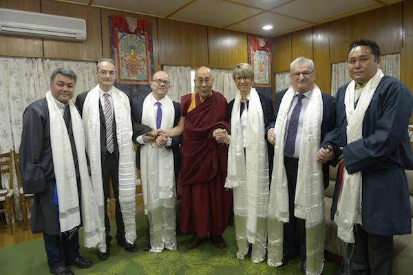 The delegation with His Holiness the Dalai Lama at the residence of His Holiness the Dalai Lama.
