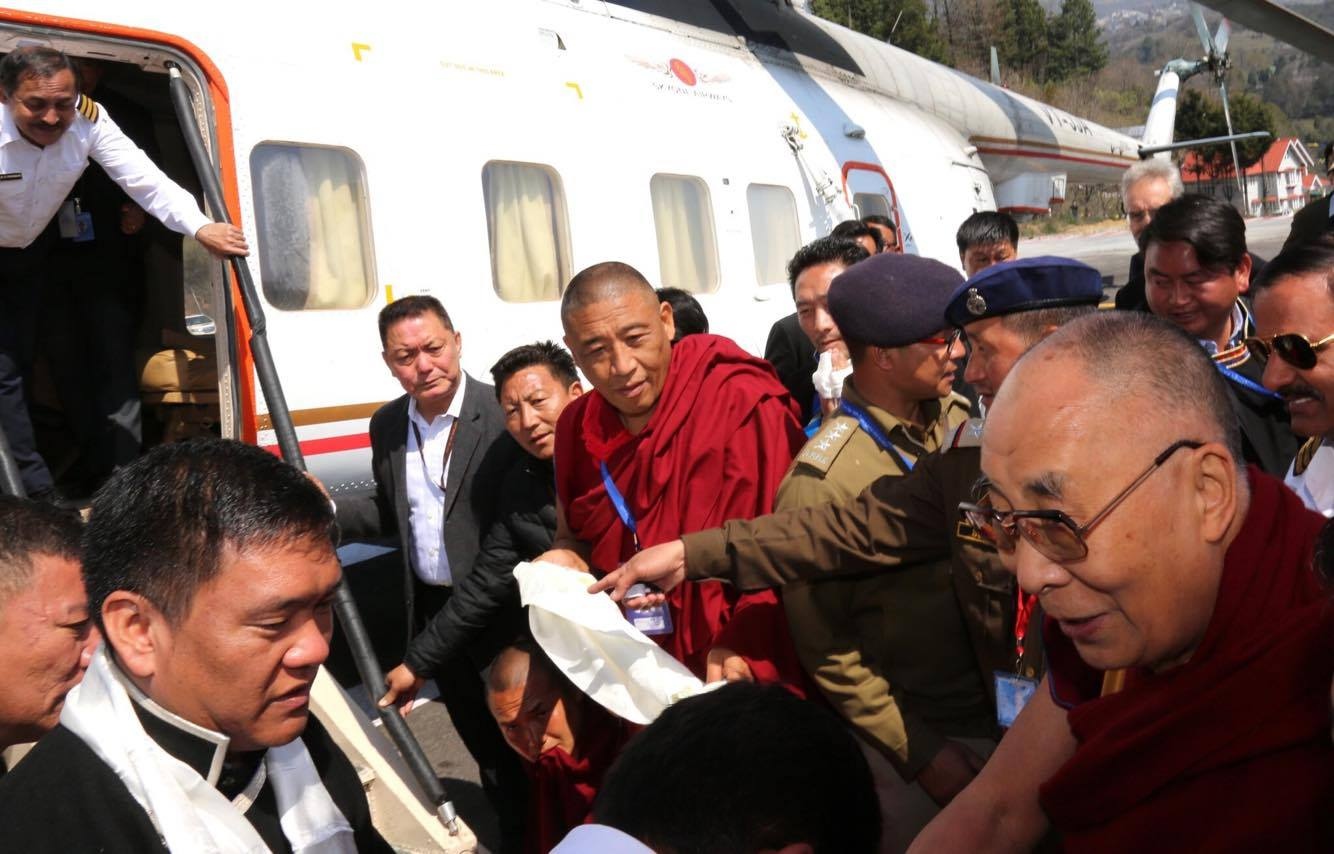 His Holiness the Dalai Lama leaves from the Tawang helipad for Lokpriya Gopinath Bordoloi International Airport in Guwahati, Assam, on 11 April 2017. Photo/Twitter/Pema Khandu