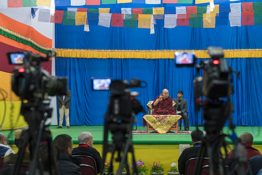 His Holiness the Dalai Lama delivering a public talk at a high school auditorium in Bomdila, Arunachal Pradesh on April 5, 2017. Photo by Tenzin Choejor/OHHDL