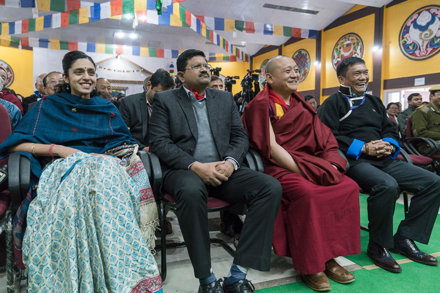 Members of the audience listening to His Holiness the Dalai Lama's public talk in Bomdila, Arunachal Pradesh on April 5, 2017. Photo by Tenzin Choejor/OHHDL