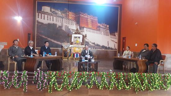 Home Kalon addressing Tibetans in Hunsur rangyaling.