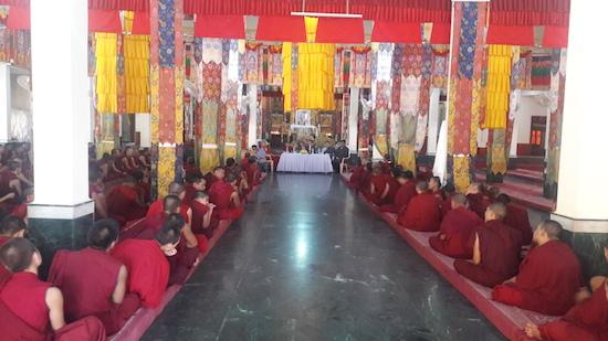 Home Kalon speaking to monks at Mundgod.
