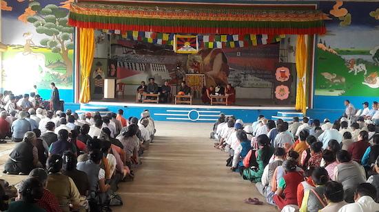 Home Kalon speaking to members of the public at Doeguling Tibetan settlement, Mundgod.