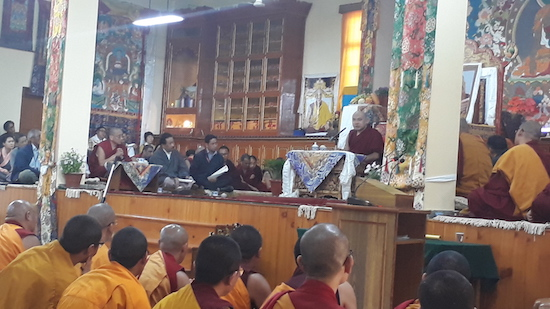 Pal Gyalang Karmapa Rinpoche at the convocation ceremony, 30 April 2017.