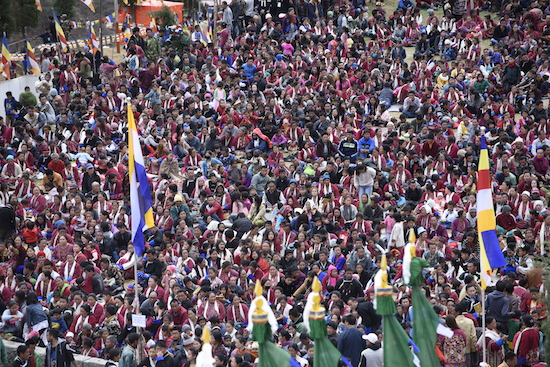 Devotees at His Holiness the Dalai Lama's teaching and inauguration of Thupsung Dargyeling monastery, 6 April 2017.