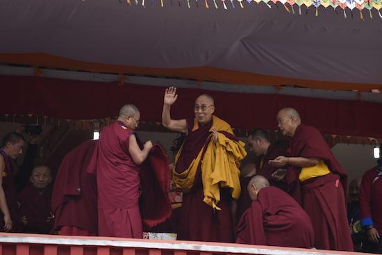His Holiness the Dalai Lama waving to the crowd, 6 April 2017.