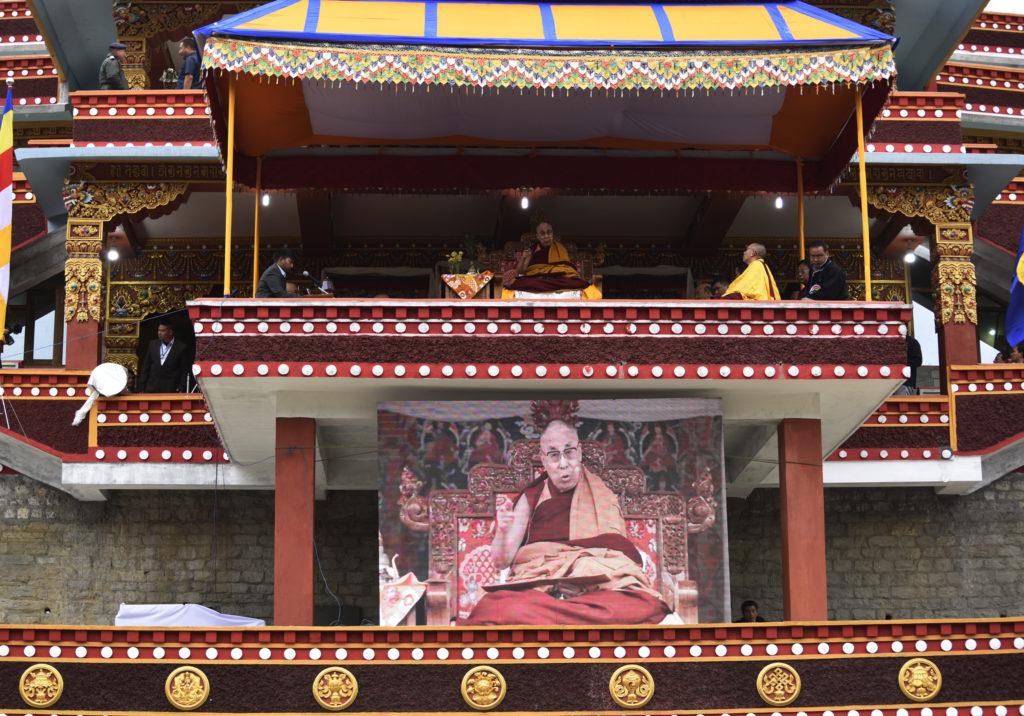 His Holiness the Dalai Lama at the inaugural ceremony of Thupsung dargyeling monastery in Dirang, Arunachal Pradesh, 6 April 2017.